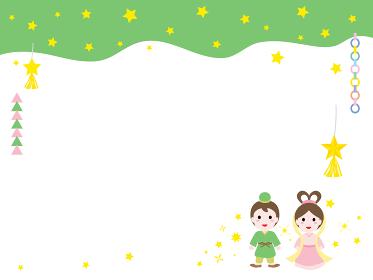 七夕の織姫と彦星のカードデザイン