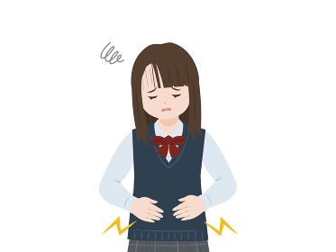 学生 女子生徒 女の子 美少女 腹痛 生理痛 痛い 上半身 イラスト素材