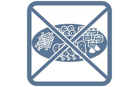 大皿の使用を警告するアイコン