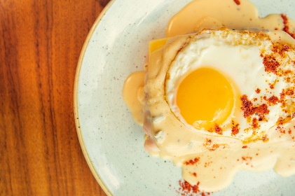 Two fried free range eggs on toast for breakfast with yellow yolks, Mexico City, Mexico City, Mexico