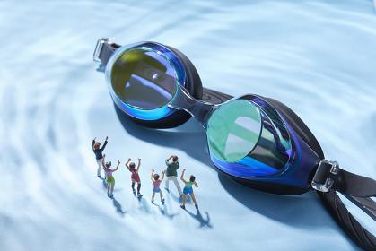 フィギュア 水泳を応援する観客