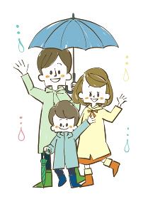 雨の日の3人家族