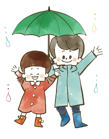 雨の日の子どもたち 水彩