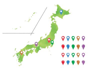 水彩タッチの日本列島のとマーカーピンのイラスト