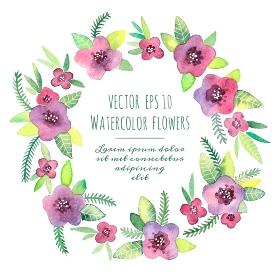 Beautiful vintage wreath. Watercolor violets. Vector illustration.. Vintage wreath in vector. Watercolor violets.