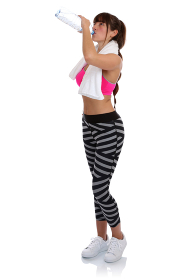 fitness woman at water drinking sport workout training full body free creator