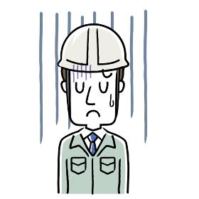 イラスト素材:作業服を着た若い男性、落ち込む