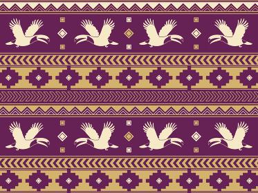 南米の民族風の図形と鳥のパターン