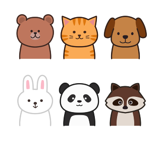 正面を向く動物イラスト クマ・ネコ・イヌ・ウサギ・パンダ・アライグマ