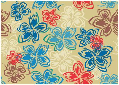 ビンテージ風ハイビスカス柄の背景イラスト|テキスタイル 総柄・シームレスパターン