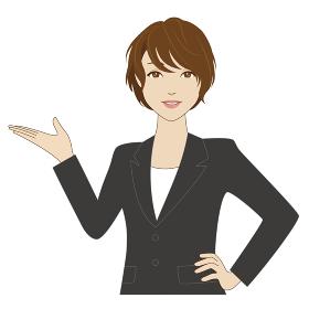 ビジネススーツ姿で手で案内する女性会社員
