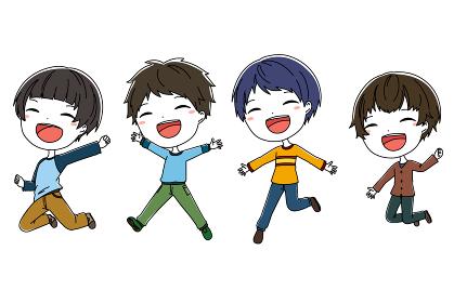 ジャンプしている男の子たちのイラスト