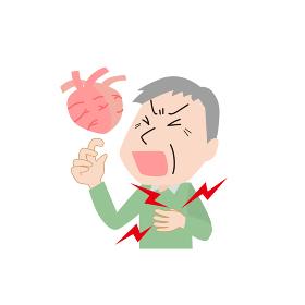心臓に激しい痛みがある中年男性