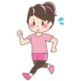 [美容・ダイエット]ランニングをしているお団子頭の女性