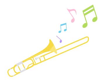楽器のトロンボーンを演奏するイラスト