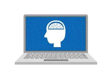 AI 人工知能 ノートPCに表示されるイメージイラスト