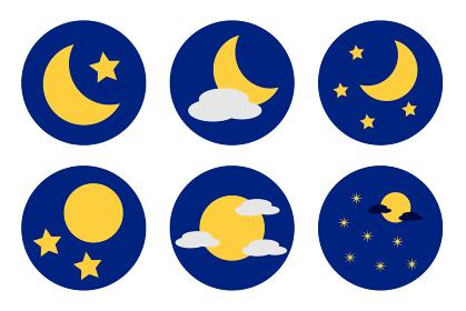 三日月、満月の丸型アイコンセット ベクター