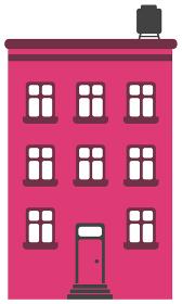 シンプルな建物 正面イラスト / マンション・ビル・集合住宅