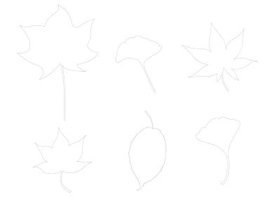 イラスト素材 紅葉 もみじ 秋 葉 線画 アウトライン セット パターン 和風 ベクター