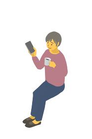アイソメトリック図法 健康的なおばあちゃんがコーヒーを飲みながらスマホを見ているベクターイラスト