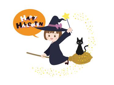 ハロウィン 箒に乗る可愛い魔女の子と黒猫のイラスト