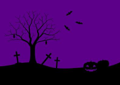 ハロウィンのシルエットフレームイラスト 1 黒紫