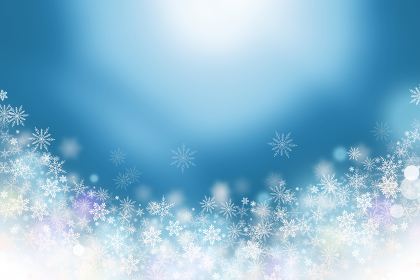 Blue background of sparkling snowflakes