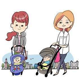 住宅街と母子