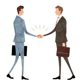 イラスト素材:ビジネスシーン、男性、握手