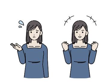 若い女性 困るポーズ ガッツポーズ 上半身 イラスト素材