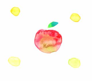りんごと水玉の水彩画
