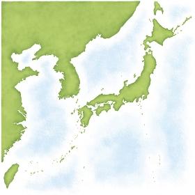 韓国・北朝鮮・台湾・中国入りの日本地図