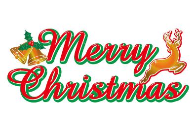赤い筆記体のメリークリスマスのロゴ ベルとトナカイ Merry Christmas logo