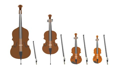 弦楽器のベクターイラストセット オーケストラ