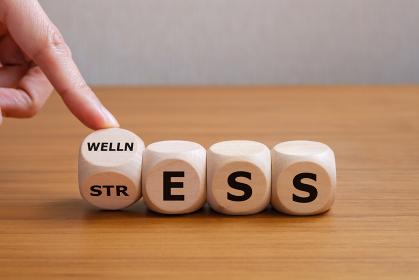 健康とストレス サイコロの目を変える手