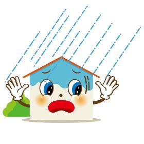 擬人化した家のキャラクターのイラスト:大雨と雨漏り 住宅 自然災害 損害保険向け