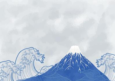富士と海:年賀状 水彩 富士山 海 波 自然 浮世絵