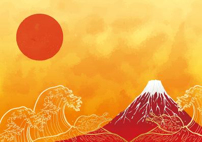 初日の出と赤富士と海:年賀状 赤富士 富士山 ご来光 海 初日の出 太陽 波