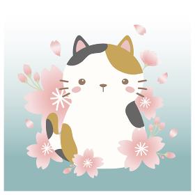 三毛猫と桜