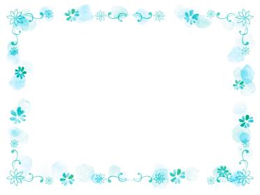 水色の花の手描きの春っぽいフレーム飾り枠