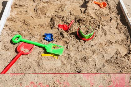 sandbox with toys on children playground