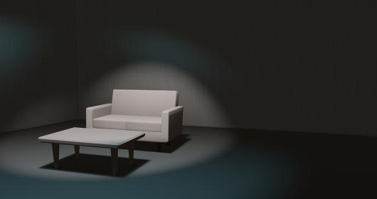 閑散とした薄暗い寂し気な部屋 3dcgインテリア 寂しい雰囲気