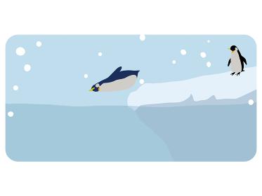 ファーストペンギン、海に飛び込むペンギンのイラスト