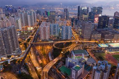 Kowloon bay, Hong Kong, 16 February 2019: Hong Kong city at night