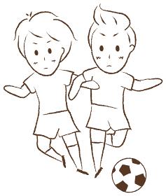 サッカーをする少年 デュエル