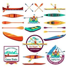Rafting Canoeing And Kayak Elements Set . Canoe trails and rafting club emblem with kayaking equipment elements flat icons composition abstract isolated vector illustration