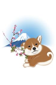 子犬と梅と富士山 イラスト
