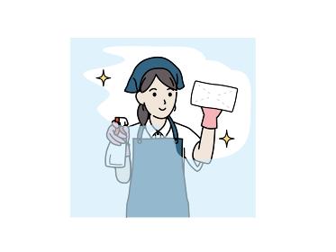 クリーニングスタッフ 家政婦 掃除 雑巾で拭く女性 イラスト素材