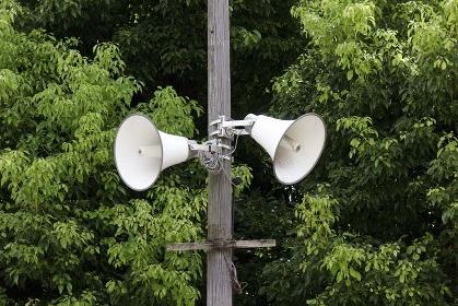 広域避難場所に設置された拡声器