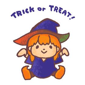 ハロウィンで魔女に仮装する子供のベクターイラスト